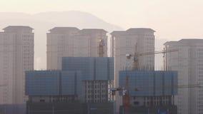 Verunreinigte chinesische Stadt Kunming morgens stock video footage