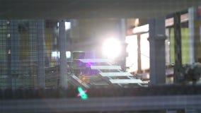 Vervaardiging van keramische tegels, Geautomatiseerde lijn voor de productie van keramische tegels, Indors stock video