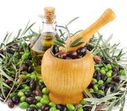 Vervaardiging van olijfolie Stock Afbeeldingen