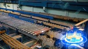 Vervaardiging van sporen voor treinen en vrachtwagen, gesloten goederenwagens Spoor productieinstallatie Stapel van staal ronde b stock foto