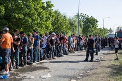 Övervaka att bevaka den väntande linjen av flyktingar i Tovarnik Arkivbild