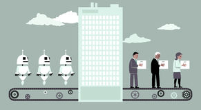 Vervangen door robots stock illustratie