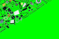 Vervangstukkenauto op de groene achtergrond Royalty-vrije Stock Afbeelding