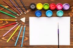 Verven, kleurpotloden, document, het schilderen reeksen Royalty-vrije Stock Foto