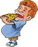 Överviktig man för tecknad film som äter pizza Arkivfoto