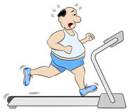 Överviktig man som joggar på en trampkvarn Fotografering för Bildbyråer