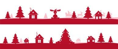 Övervintra det röda ferielandskapet med träd för Ñ-hristmas Arkivbilder