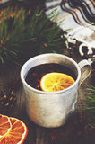 Övervintra drinken med citronen och tranbär i metallkopp och slags tvåsittssoffa kontrollerad pläd Arkivbilder