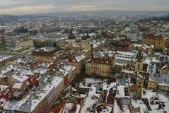 Övervintra panorama av Lviv täckte vid snö, Ukraina Lviv (Lvov), Ea Royaltyfri Fotografi