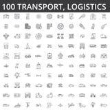 Vervoer, auto, logistiek, voertuig, openbaar vervoer, bus, tram, schip, het verschepen, de autodienst, de pictogrammen van de vra stock illustratie
