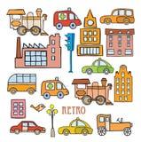Vervoer in de stijl van beeldverhaal Stock Afbeeldingen