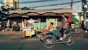 Vervoer door pedicab bij Ho Chi Minh-stad Stock Foto