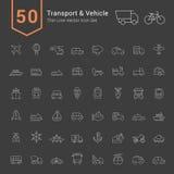 Vervoer en de Reeks van het Voertuigpictogram 50 dunne Lijn Vectorpictogrammen vector illustratie