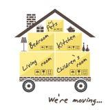 Vervoer en huisverwijdering Gestileerd huis op wielen met dozen voor zich het bewegen We& x27; het re bewegen zich royalty-vrije illustratie
