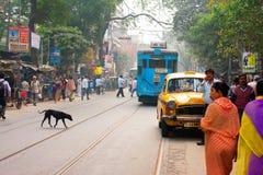 Vervoer en menselijk verkeer op Aziatische straat Royalty-vrije Stock Afbeelding