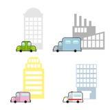 Vervoer en openbare gebouwen geplaatst beeldverhaalstijl Wolkenkrabber en Stock Foto