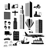 Vervoer en stadspictogrammen Royalty-vrije Stock Foto