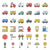 Vervoer en teken op weg vector illustratie