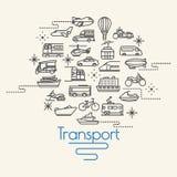 Vervoer en Voertuigenpictogrammen Stock Afbeeldingen