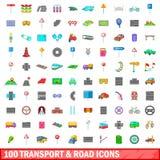100 vervoer en weg geplaatste pictogrammen, beeldverhaalstijl Stock Foto's