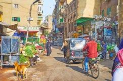 Vervoer in marktstraat, Kaïro, Egypte stock afbeelding