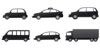 Vervoer met zwart auto'ssilhouet dat wordt geplaatst Stock Fotografie
