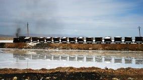 Vervoer - treinen op Caka Salt Lake Stock Afbeelding