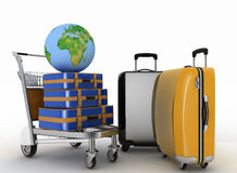 Vervoer van aarde en koffers op vracht lichte kar Stock Foto's
