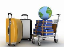 Vervoer van aarde en koffers op vracht lichte kar Stock Fotografie