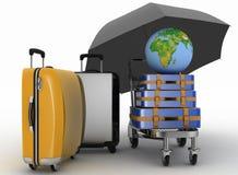Vervoer van aarde en koffers op vracht lichte kar onder paraplu Stock Afbeeldingen