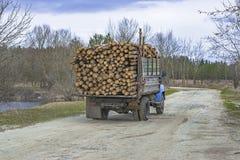 Vervoer van houten logboeken door auto te registreren royalty-vrije stock afbeeldingen