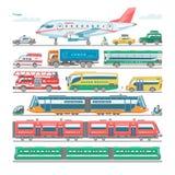 Vervoer vector openbaar vervoerbaar bus of voertuig en vliegtuig of treinillustratiefiets voor vervoer in stad royalty-vrije illustratie