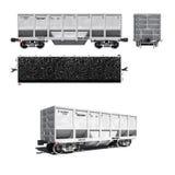 Vervoer voor steenkoolvervoer dat op wit wordt geïsoleerde Royalty-vrije Stock Fotografie