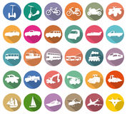 Vervoer witte pictogrammen Stock Fotografie