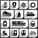 Vervoer zwarte pictogrammen Royalty-vrije Stock Foto's