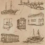 Vervoerpak - Hand getrokken vectoren, lijnart. vector illustratie