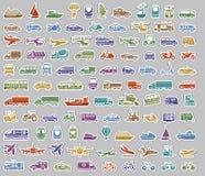104 vervoerpictogrammen geplaatst retro stickers Royalty-vrije Stock Fotografie