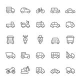 Vervoerpictogrammen op de Witte BackgroundTransport-Slag van het pictogrammenoverzicht op Witte Achtergrond royalty-vrije illustratie