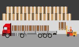 Vervoers logistische vrachtwagen in voorraad Stock Foto