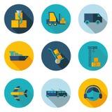 Vervoers vlakke pictogrammen Stock Afbeelding