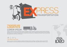 Vervoersbrochure en het malplaatje van het pamfletontwerp Stock Foto
