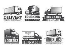 Vervoersembleem Silhouet van vrachtwagen diverse emblemen van logistisch thema Het vector bedrijfsembleem isoleert vector illustratie