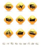 Vervoerspictogrammen op gele knopen Royalty-vrije Stock Afbeeldingen