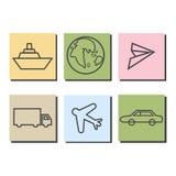 Vervoerspictogrammen op kleurrijke achtergrond Royalty-vrije Stock Fotografie