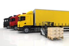 Vervoersvrachtwagens in vracht Stock Afbeeldingen