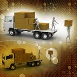 Vervoersvrachtwagens in vrachtlevering Stock Foto's