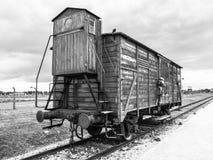 Vervoerwagen in concentratiekamp stock afbeeldingen