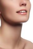 Vervollkommnen Sie Lächeln mit den weißen gesunden Zähnen und den natürlichen vollen Lippen, Zahnpflegekonzept Schönes Gesichtsfr Lizenzfreie Stockbilder