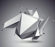 Vervormd 3D abstract voorwerp met lijnen en punten Stock Fotografie