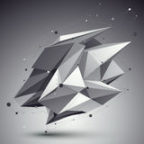 Vervormd 3D abstract voorwerp met lijnen en punten over donkere backg Stock Fotografie